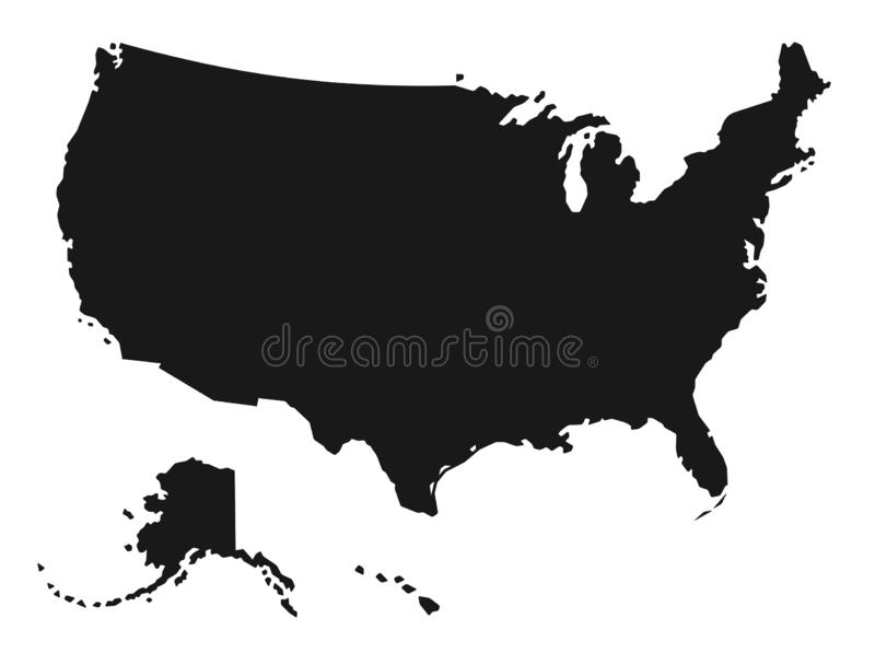 Szczegółowa mapa Stany Zjednoczone Ameryka ilustracji