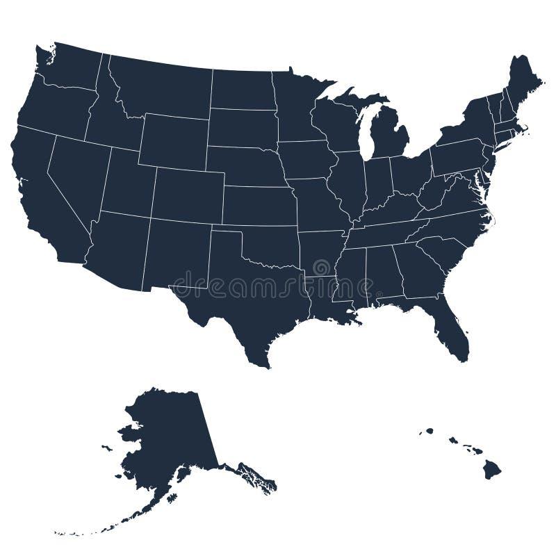 Szczegółowa mapa usa wliczając Alaska i Hawaje jednoczący America stan ilustracja wektor