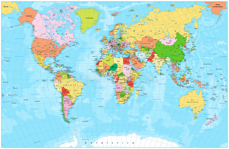 Szczegółowa polityczna światowa mapa z capitals, rzekami i jeziorami, ilustracja wektor