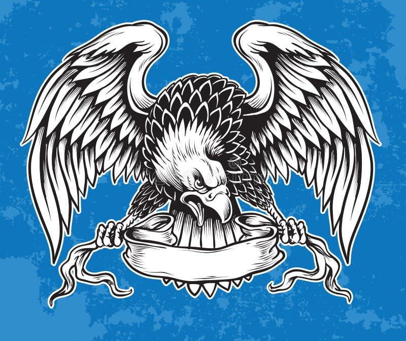 Szczegółowa ręka Rysujący Eagle ilustracja wektor