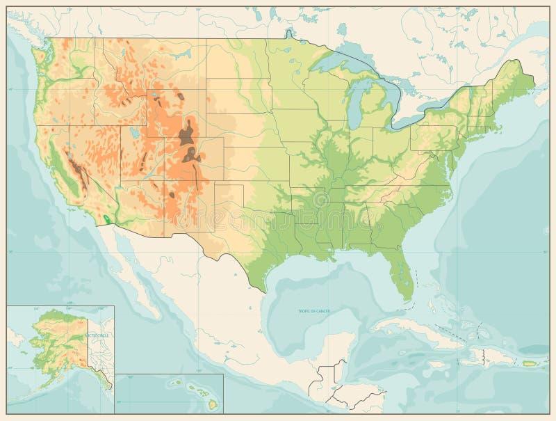 Szczegółowa Reliefowa mapa usa kolor retro ilustracji