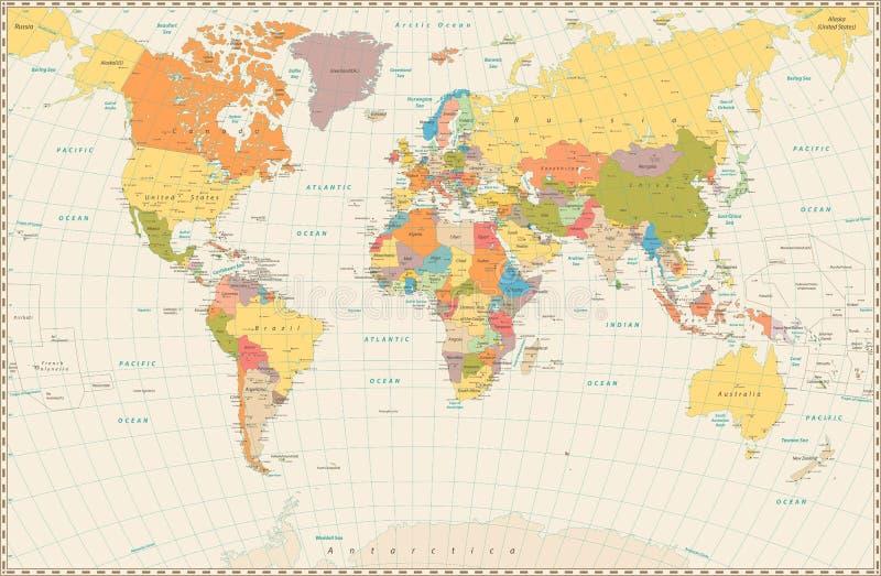 Szczegółowa retro polityczna Światowa mapa royalty ilustracja
