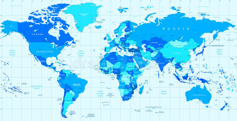 Szczegółowa wektorowa Światowa mapa błękitni kolory royalty ilustracja