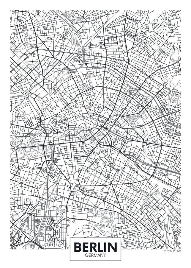 Szczegółowa wektorowa plakatowa miasto mapa Berlin royalty ilustracja