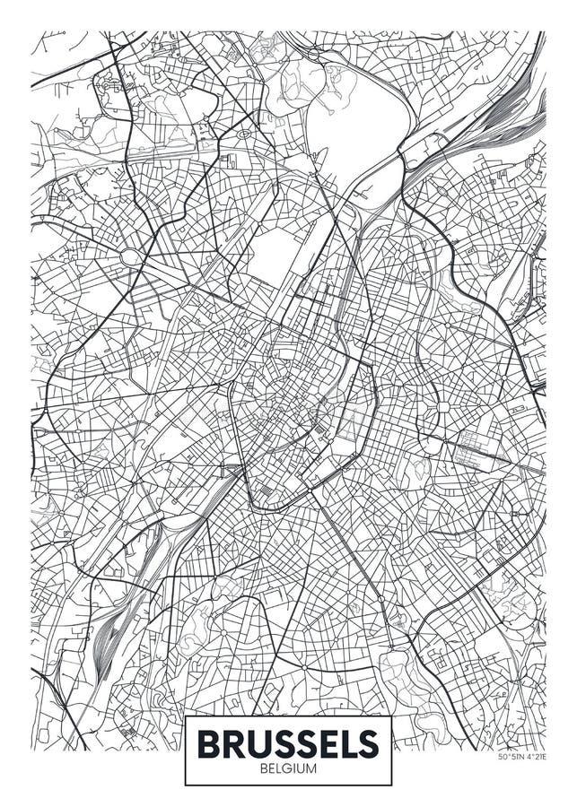 Szczegółowa wektorowa plakatowa miasto mapa Bruksela ilustracja wektor