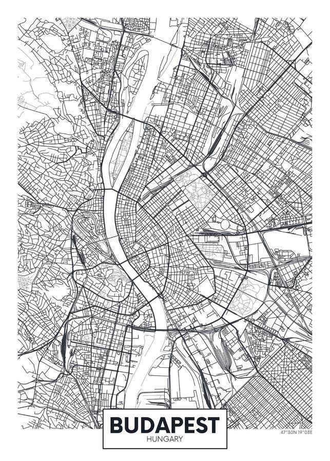 Szczegółowa wektorowa plakatowa miasto mapa Budapest ilustracja wektor