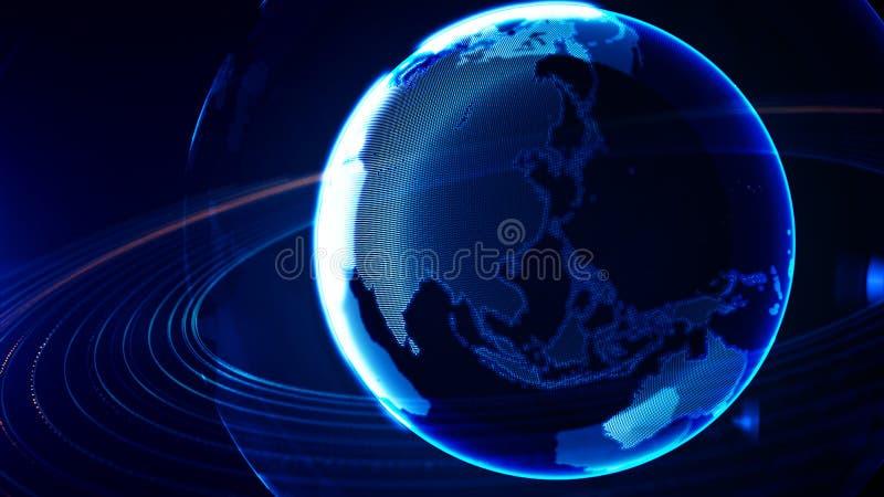 Szczegółowa wirtualna planety ziemia Technologiczny cyfrowy kula ziemska świat royalty ilustracja