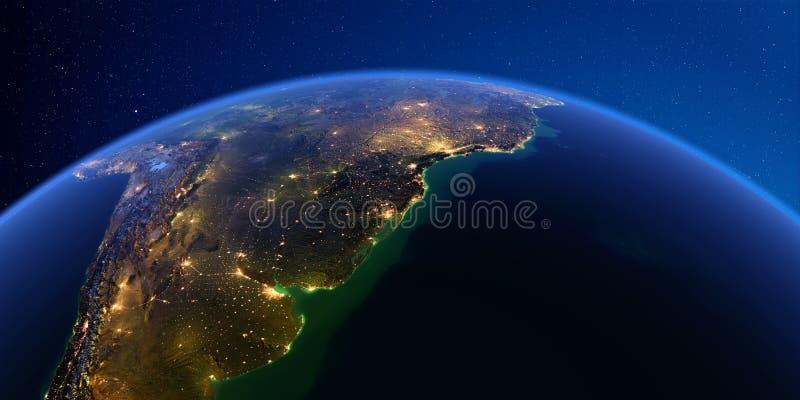 Szczegółowa ziemia przy nocą 3 d formie wymiarowej Ameryk? wspania?? na po?udnie ilustracyjni trzech bardzo Rio De Los Angeles Pl ilustracji