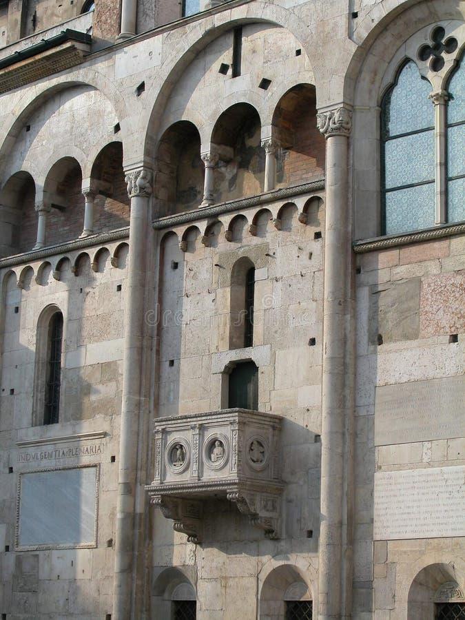 Szczegółowe informacje o katedrze Modeny Włochy fotografia stock