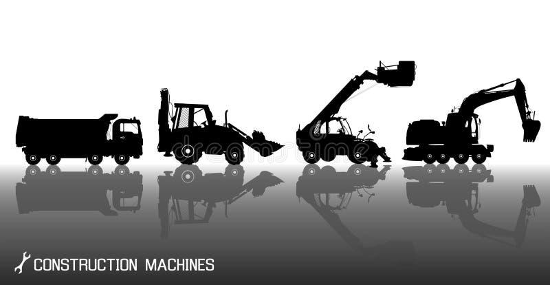 Szczegółowe sylwetki budów maszyny: ciężarówka, ekskawator, buldożer, winda z odbicia tłem royalty ilustracja