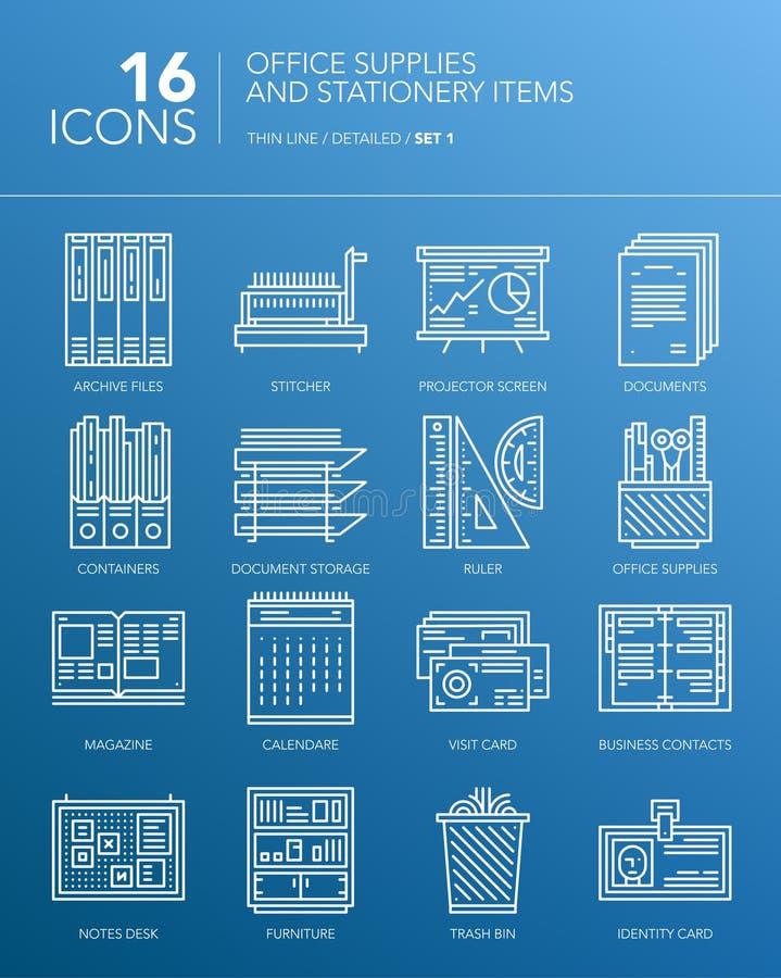 Szczegółowego bielu cienkie kreskowe ikony - Biurowe dostawy i materiały rzeczy royalty ilustracja