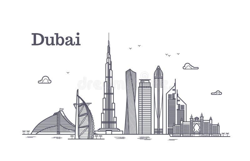 Szczegółowej Dubai linii wektorowy pejzaż miejski z drapaczami chmur Uae punktu zwrotnego linia horyzontu royalty ilustracja