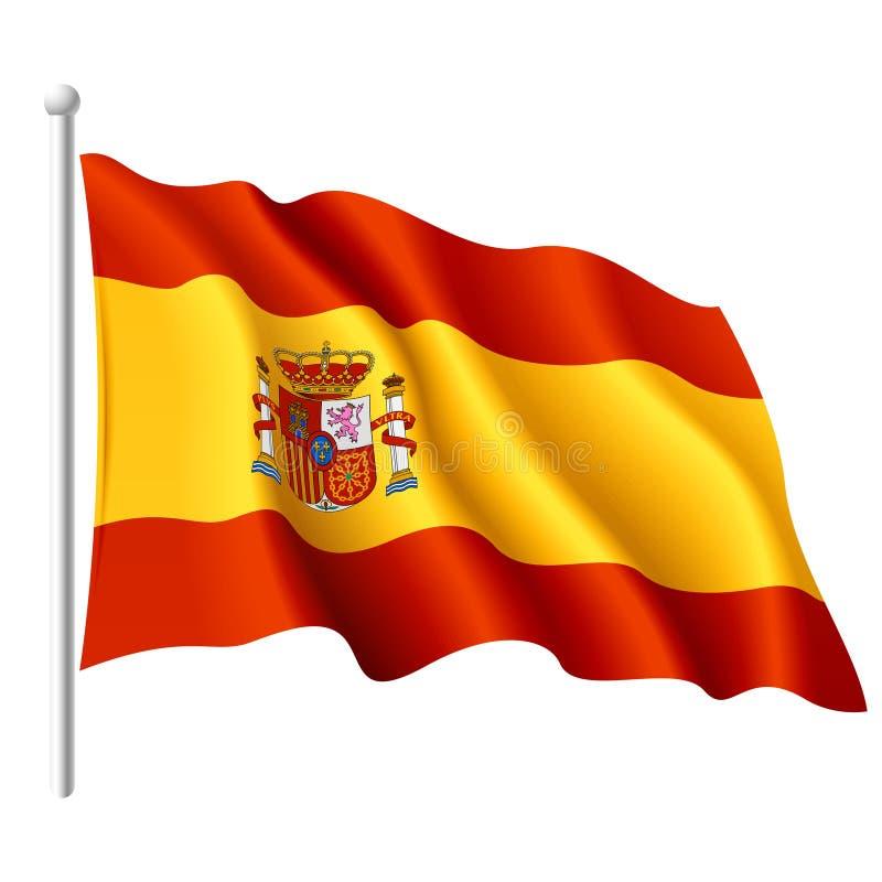 szczegółowy chorągwiany ilustracyjny Spain ilustracja wektor