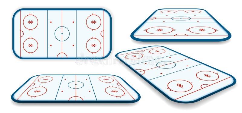 Szczegółowy ilustracyjny ustawiający icehockey lodowisko, pole, sąd z innymi perspektywami, eps10 wektor ilustracja wektor