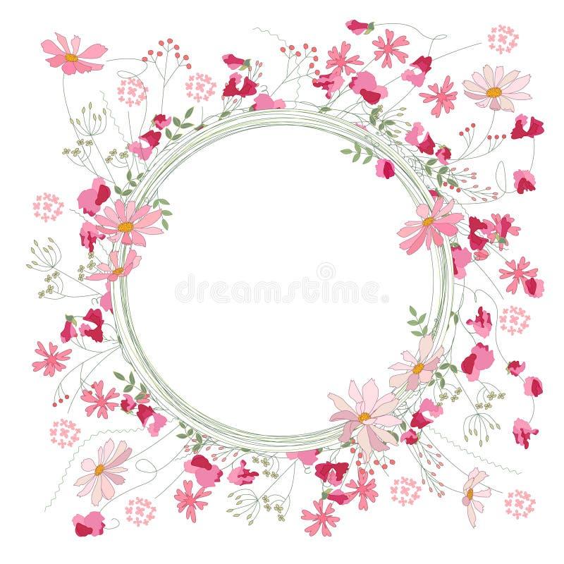 Szczegółowy konturowy wianek z ziele, słodkimi grochami i dzikimi kwiatami odizolowywającymi na bielu, Round rama dla twój projek ilustracji