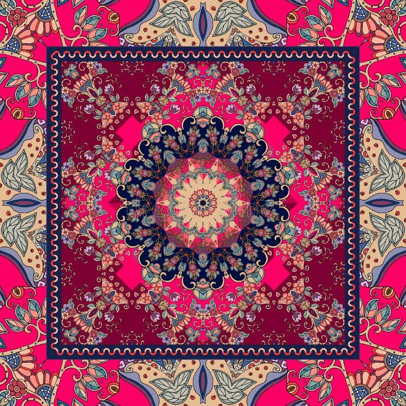 Szczegółowy kwiecisty chusta projekt Kwiatu mandala i ornamentacyjna rama royalty ilustracja