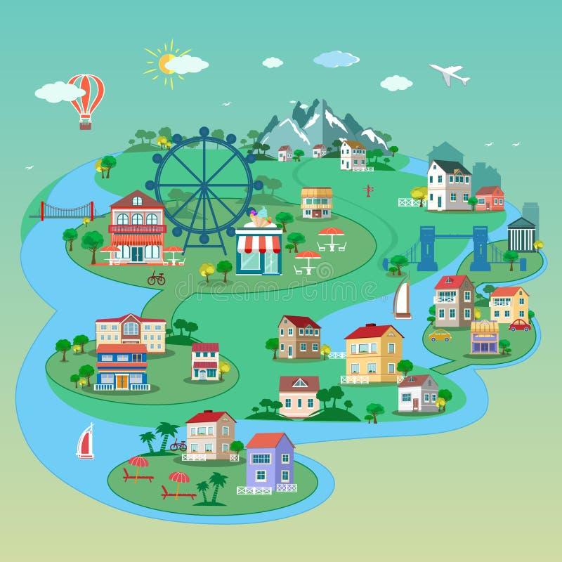 Szczegółowy mieszkania 3d isometric miasto: uliczni budynki, parki, mosty, miejsca publiczne ilustracja wektor