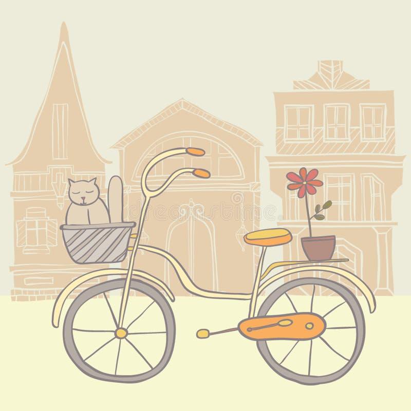 Szczegółowy retro bicykl z backet ilustracji