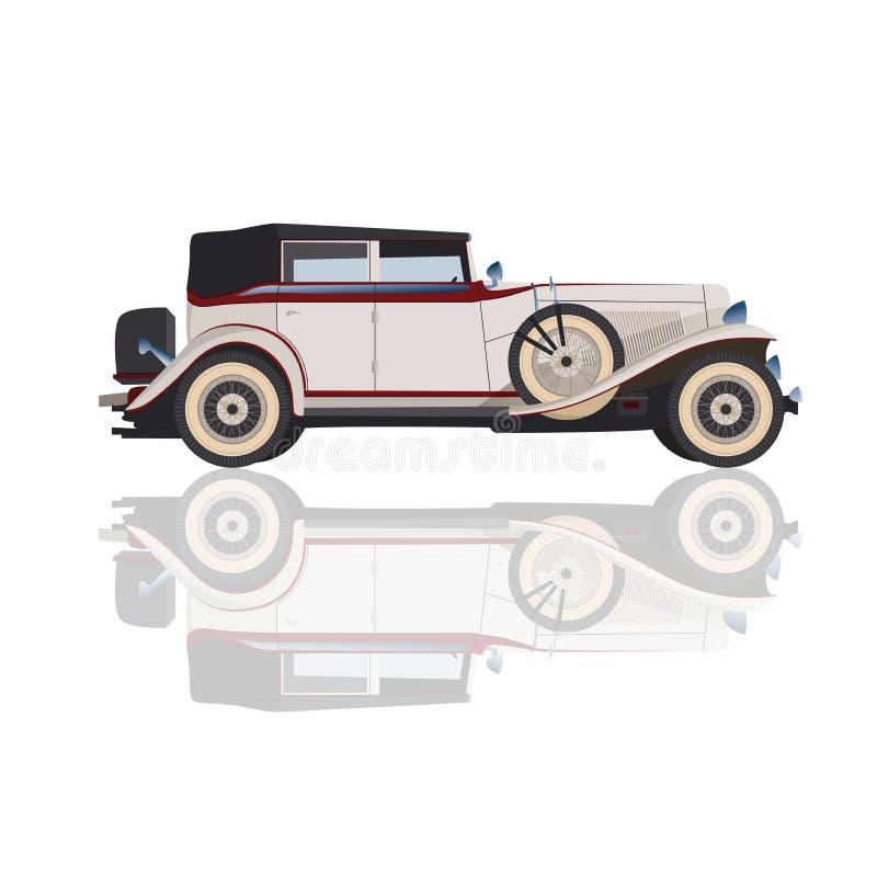 Szczegółowy retro samochód, wektorowy Cadillac dla projekta, odosobniony biel c ilustracja wektor
