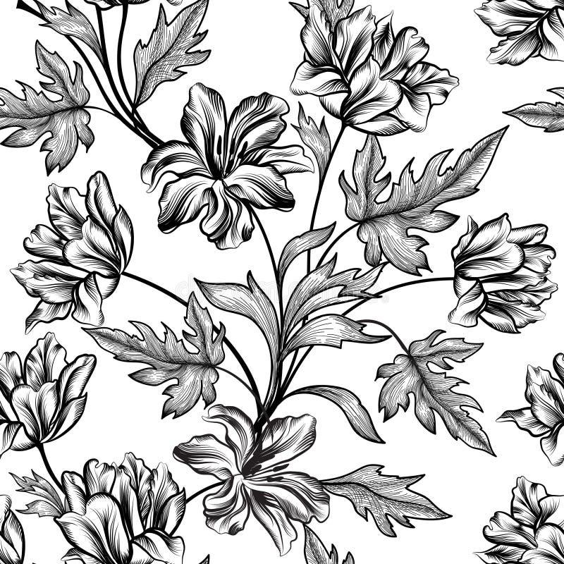 szczegółowy rysunek kwiecisty pochodzenie wektora bukietów formie ciągnąć wzoru mały bezszwowy kwiat Zawijas bezszwowa tekstura ilustracji