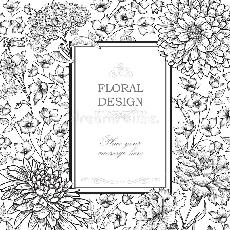 szczegółowy rysunek kwiecisty pochodzenie wektora Kwiatu bukieta rocznika pokrywa Zawijas karciany w royalty ilustracja