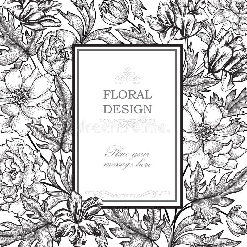 szczegółowy rysunek kwiecisty pochodzenie wektora Kwiatu bukieta rocznika pokrywa Zawijasa kartka z pozdrowieniami ilustracji