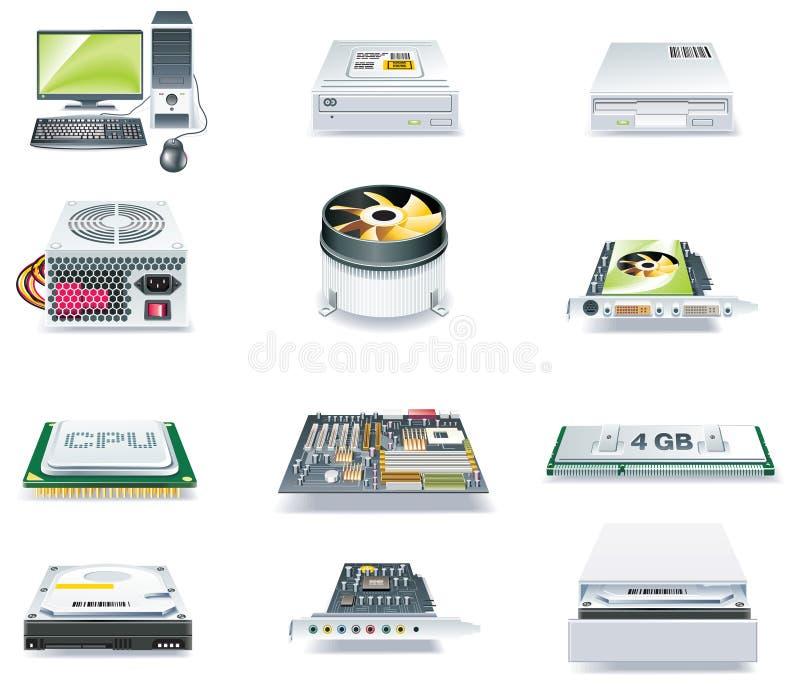 Szczegółowy wektoru komputer rozdzielać ikona set. Część 1 royalty ilustracja