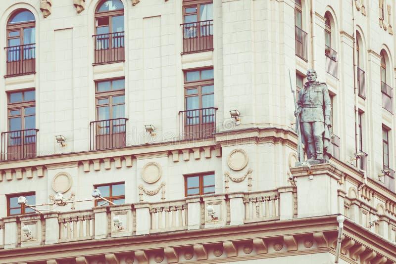 Szczegółowy widok bramy Minsk Radziecki dziedzictwo Sławny lan obraz royalty free
