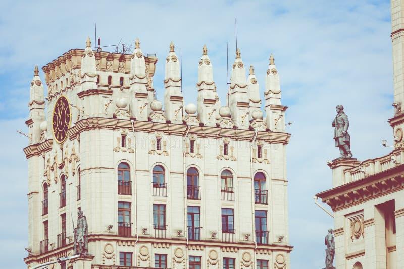 Szczegółowy widok bramy Minsk Radziecki dziedzictwo Sławny lan obraz stock