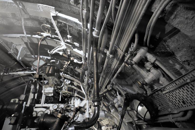Szczegółowy widok klapy i drymby w łodzi podwodnej obraz royalty free