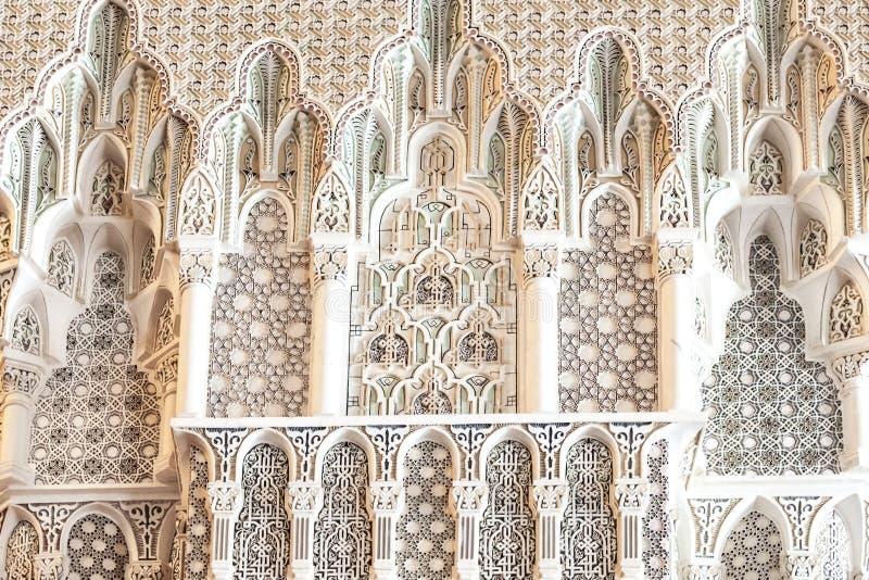 Szczegółu królewiątka Hassan II meczet, Casablanca obrazy stock