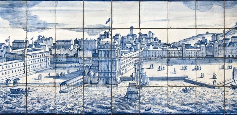 szczegółu Lisbon stary płytek widok zdjęcia royalty free