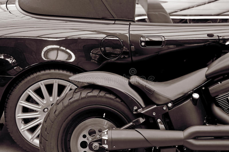 Szczegółu motocykl i lifestyle (przeciwieństwa, zdjęcie stock