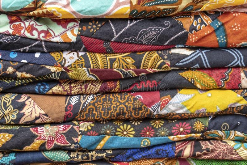 Szczegółu patchworku kołderka w rynku Bali wyspa, Ubud, Indonezja E obraz royalty free