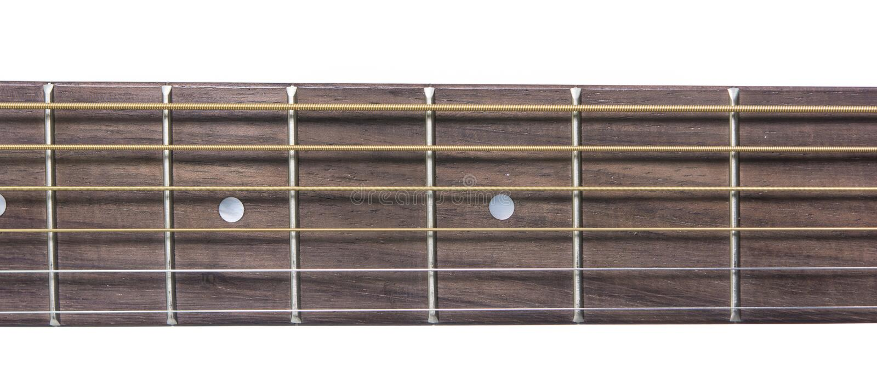 Szczegółu zbliżenie szyja klasyka gitara zdjęcia stock