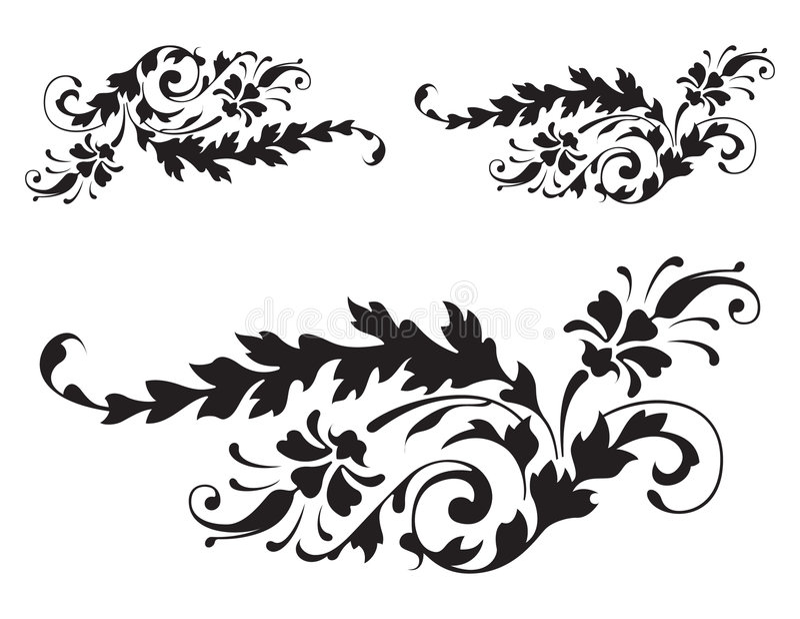 szczegóły 3 renesansu kwiecisty wektora ilustracja wektor