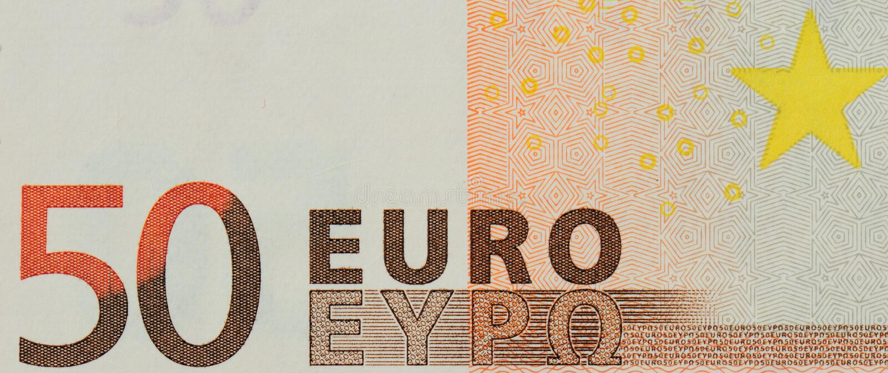 dokładne spojrzenie euro banknot 50 wartość nominalna   zdjęcia stock