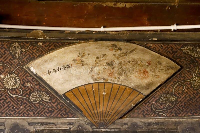 Szczeg??y dekoracji falcowanie wachluj? w antycznym domu w Shaxi wiosce, Yunnan, Chiny fotografia royalty free
