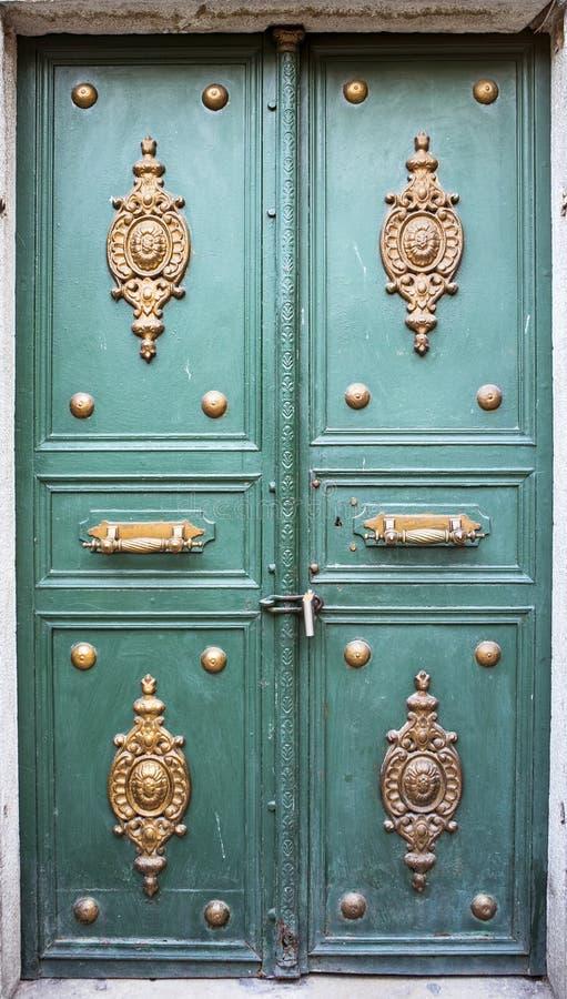 Szczegóły Drewniany drzwi obrazy royalty free