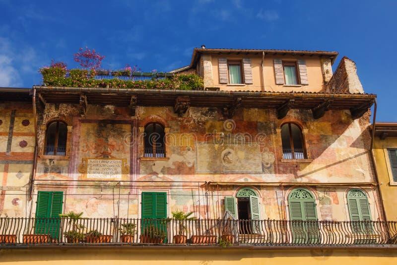 Szczegóły Mazzanti domy, Verona zdjęcie stock