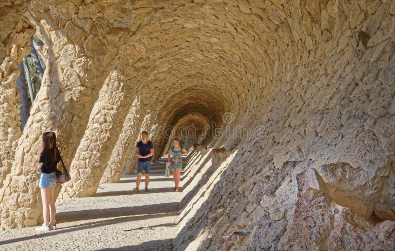 Szczegóły Parkowy Guell w Barcelona, Hiszpania obrazy royalty free