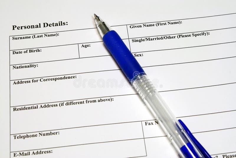 szczegóły podaniowych formularz osobiste zdjęcia royalty free