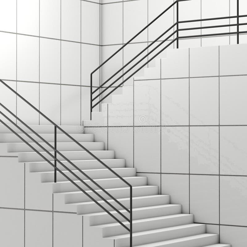 Szczegóły poręcz i schodki nowożytny budynek świadczenia 3 d ilustracja wektor