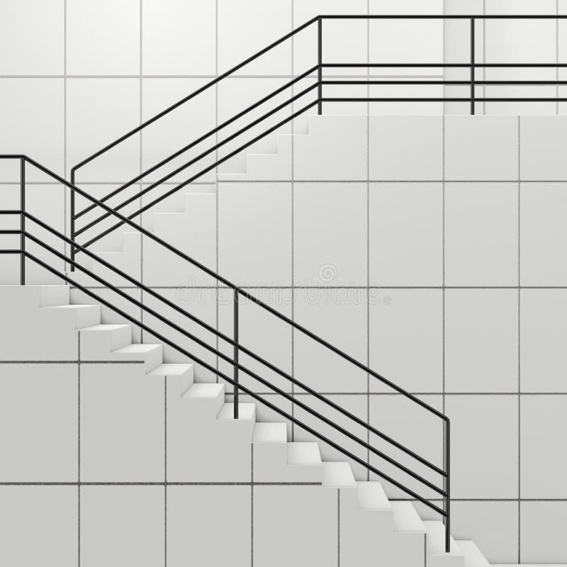 Szczegóły poręcz i schodki nowożytny budynek świadczenia 3 d royalty ilustracja