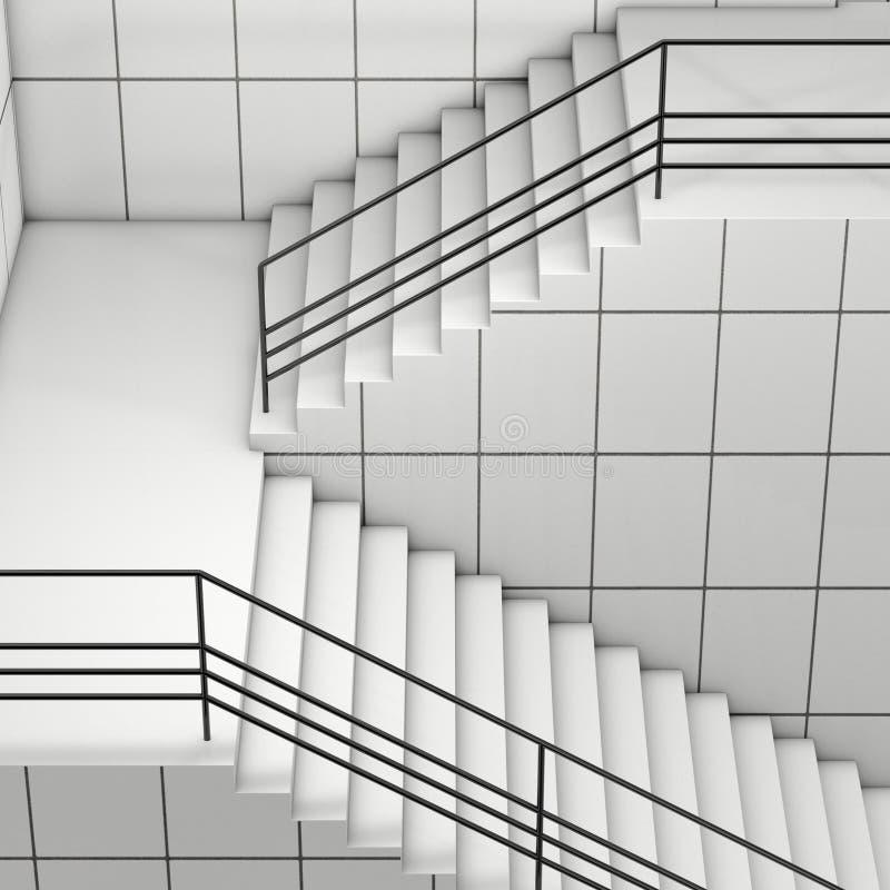 Szczegóły poręcz i schodki nowożytny budynek świadczenia 3 d ilustracji