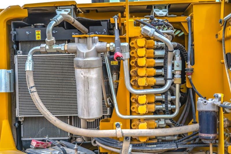Szczegóły silnik który daje władzie budowy maszyneria zdjęcia stock