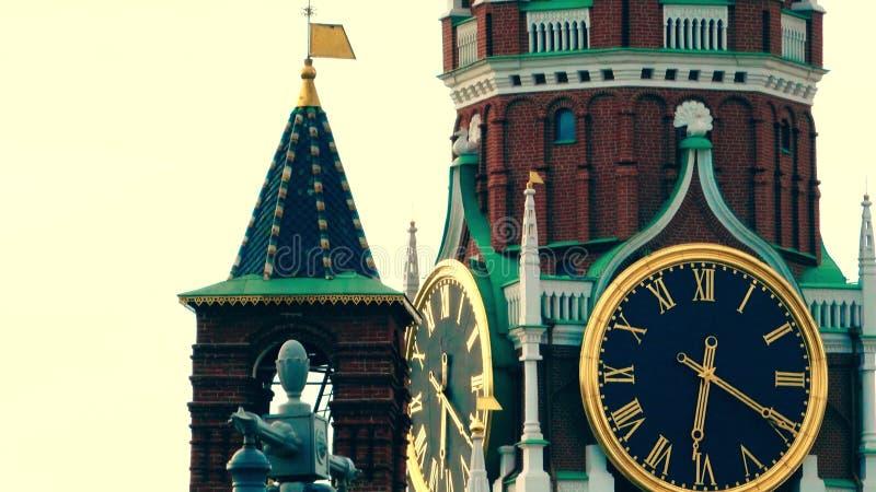 Szczegóły Spasskaya wierza osiągają Moskwa Kremlin fotografia royalty free