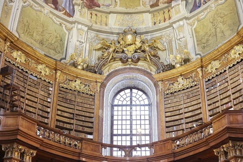 Szczegóły stanu Hall biblioteka w Wiedeń obraz stock