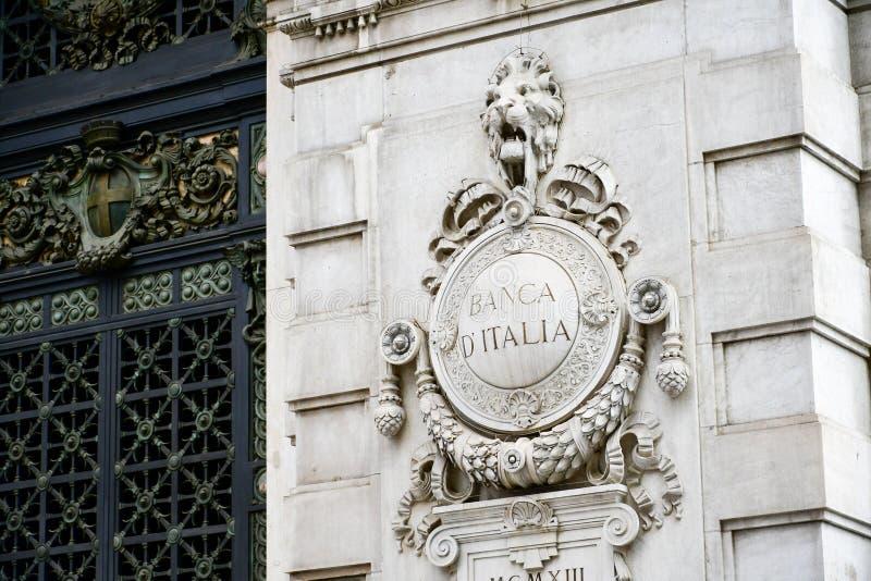 Szczegóły Włochy Banca Italia fotografia stock