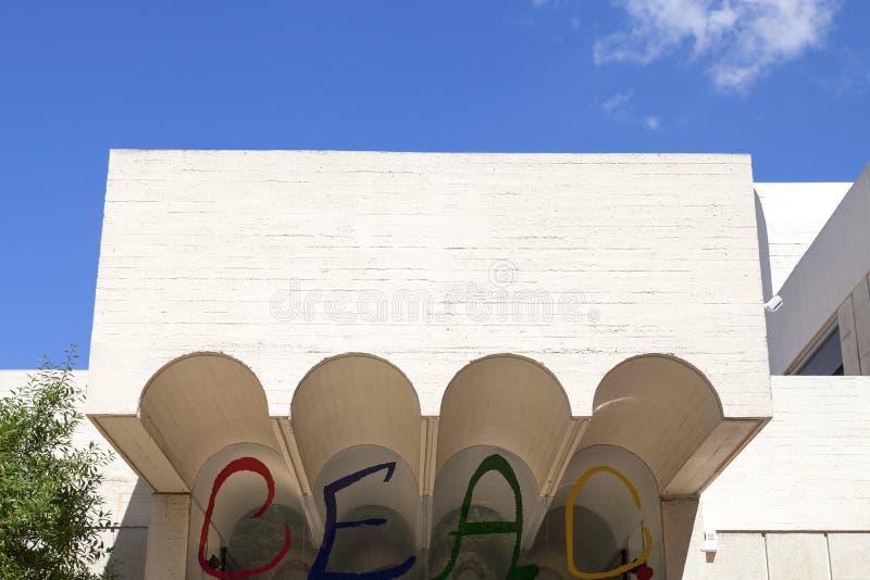 : Szczegóły wejście buduje Joan Miro podstawa, Barcelona, Hiszpania zdjęcia royalty free